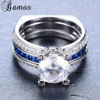 Bamos Fashion White Blue Zircon Ring Sets For Women Men White Gold Filled Wedding Party Engagement