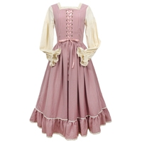 Women Vintage French Pastoral Style Long Sleeve Casual Loose Cotton Linen Cinderella One piece Long Dress