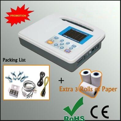 3.5 inch color LCD Portable Digital Single Channel ECG EKG Machine with Head Printer 3 rolls ECG Paper ecg eletrocardiograma