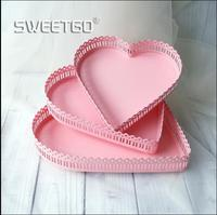 fashion heart shape metal storage tray food serving tray pink tray decorative tray metal SNTP082