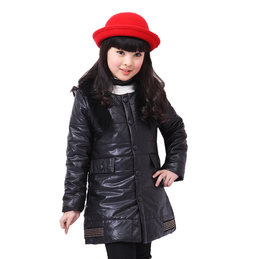 Girls Parkas Coat Fur Collar Solid Kids Warm Outerwear Vestidos Winter Children PU Jackets Thick Infants Costumes Clothes 5-12Y baby girls parkas 2017 winter thick outerwear casual coats children clothing kids clothes solid thicken cotton padded warm coat