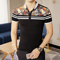 m-5xl black white floral  Short Sleeve Polo Shirt Men Business Casual Mens Polo Shirts Camisa Polo Masculino Polos Homme PA32