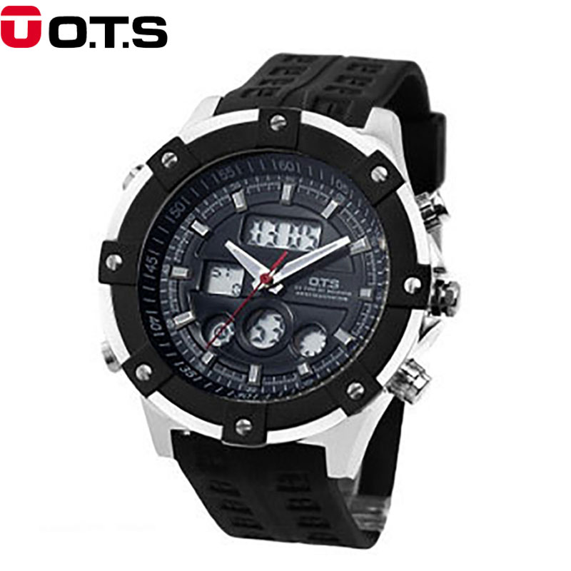 ? OTS Top Brand Luxury Sport Watch Auto Date Day LED Alarm Black Rubber Band Analog Quartz Military Men Digital Watches Relogio weide luxury brand sport watch quartz analog lcd digital stainless steel band date black dial alarm military men watches wh3403