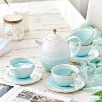 9 pcs geometry ceramic bone china Coffee Tea Sets 1 teapot 4 cups 4 saucers Home gift