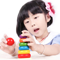 Rainbow Wooden folding Tower Train Children's ability Educational Toys Montessori Building Blocks
