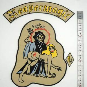 Image 4 - REAPERMAGIC 1% MC large Embroidered punk biker Patches Clothes Stickers Apparel Accessories Badge