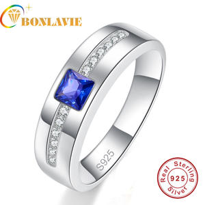 BONLAVIE sapphire Stone Men's 100% 925 Sterling Silver Ring