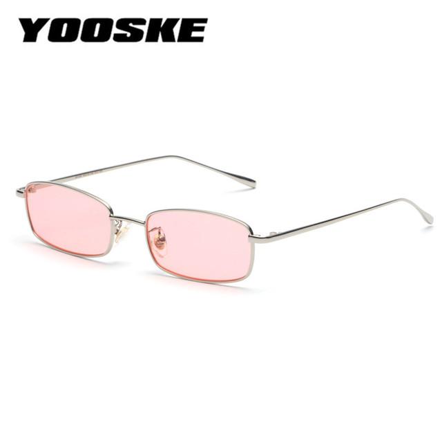YOOSKE Vintage Sunglasses Men Women Brand Designer Rectangle Metal Sun Glasses Ladies Small Retro Shades Eyewear UV400