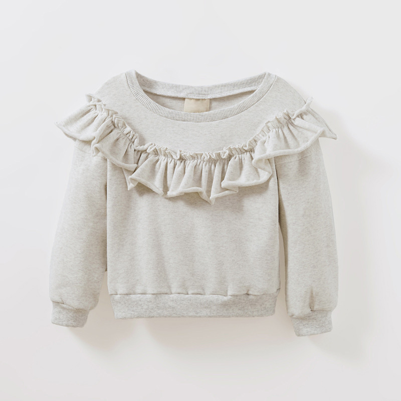 new style cotton girls t shirt long sleeve tops autumn baby girl sweatshirts ruffles design t shirt for girls baby DQ675 stand collar color block and stripe splicing design long sleeve t shirt for men