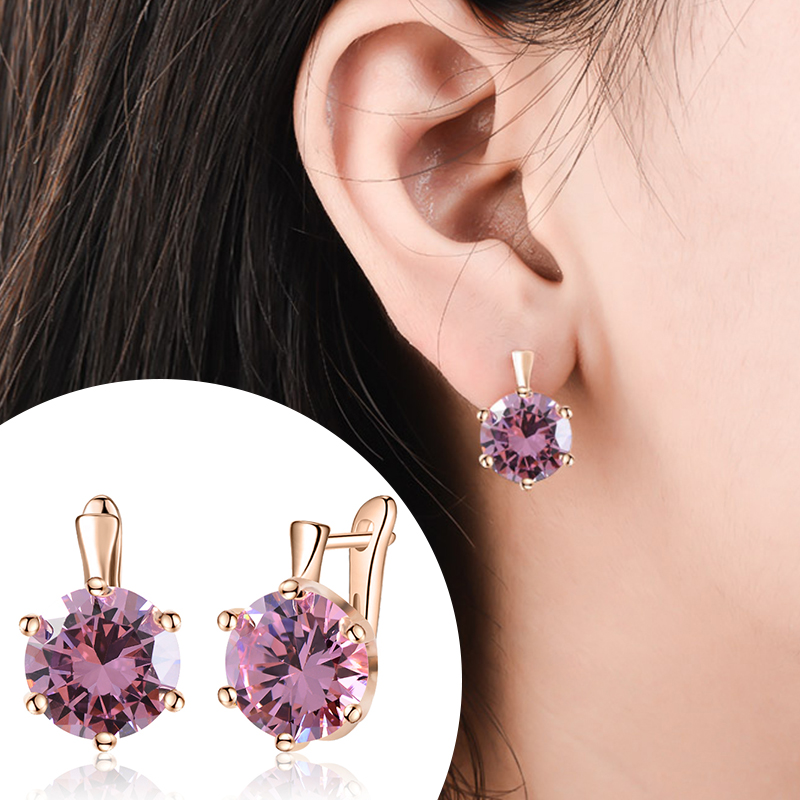 SHUANGR Fashion 10 Colors AAA CZ Element Stud Earrings For Women Vintage Crystal Earrings Statement Wedding Jewelry(China)