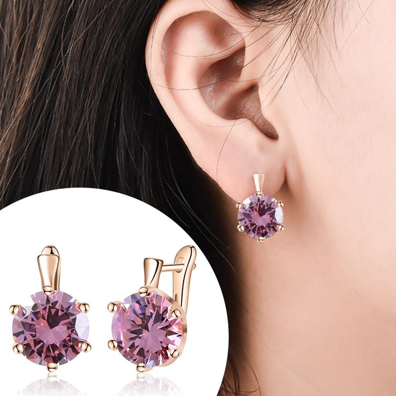 SHUANGR Fashion 10 Colors AAA CZ Element Stud Earrings For Women Vintage Crystal Earrings Statement Wedding Jewelry