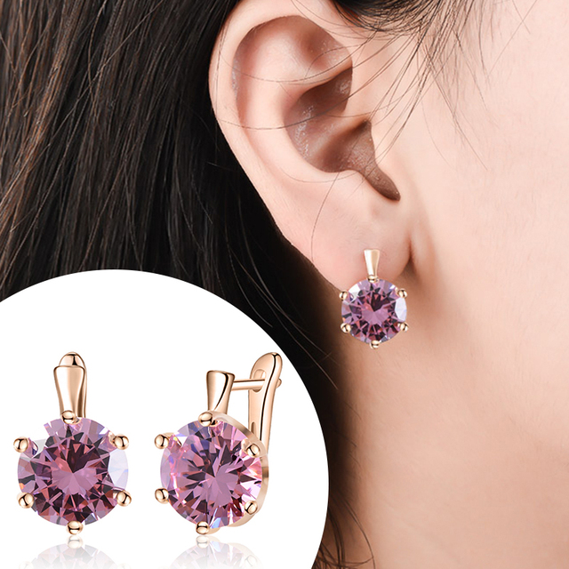 SHUANGR Fashion Colors CZ Element Stud Earrings