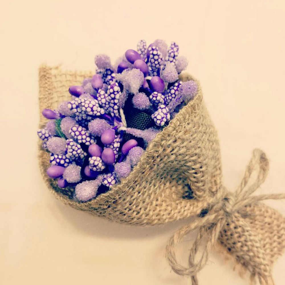 12 Uds flor con estambre artificial para la decoración del hogar de la boda piso DIY caja de regalo Scrapbooking flores falsas guirnalda artesanal