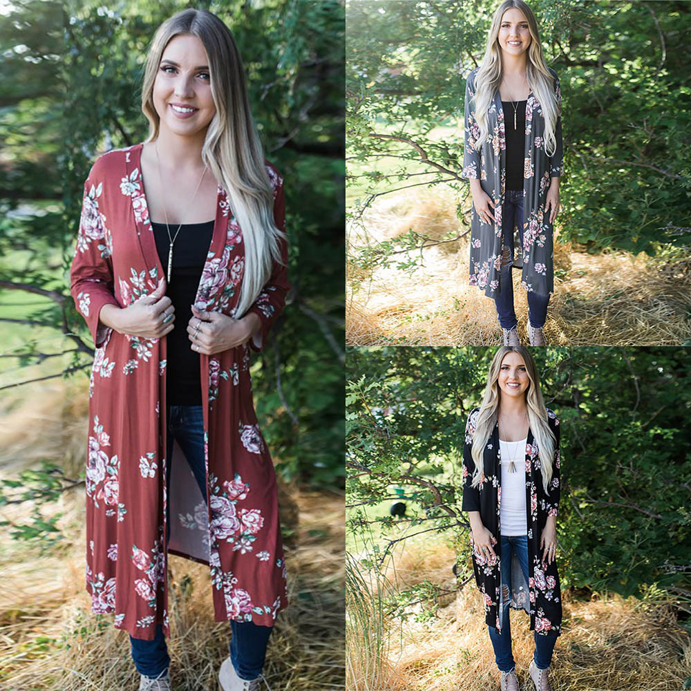 2017 plus size kimono cardigan casual summer blusa manga comprida feminina sexy women shirts and brands printing flower blouses