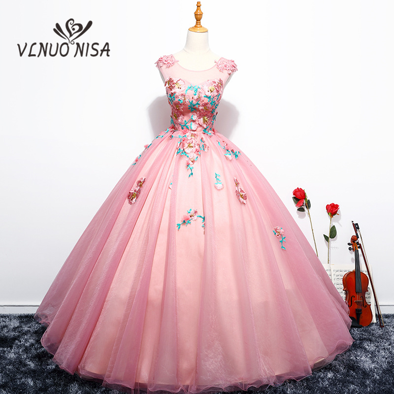 Colorful Sweet Floor-Length Ball Gown Backless Luxury Appliques And Embroidery 2018 Evening Dress Prom Dance Meeting Host Party