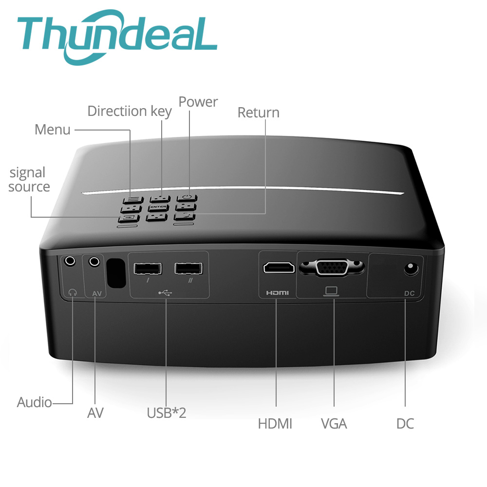 ThundeaL GP80 GP80UP GP70 Upgraded Android 6.0 Mini Projector LED LCD Projector VGA HDMI Optional Bluetooth Wireless WIFI Beamer 1