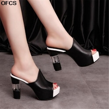 Ladies Leather Sole Slippers Women Sexy High Heel Mules Clogs Black Peep Toe Platform Mules emal Sli