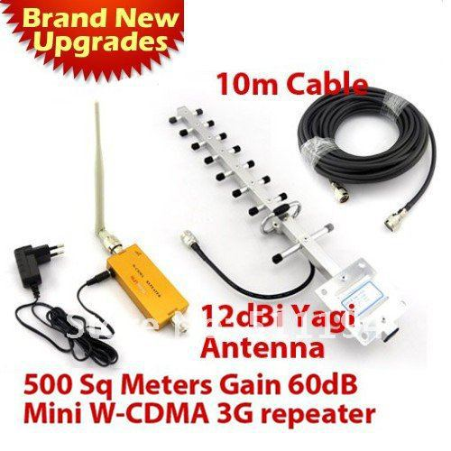 Best Price! 3G Repeater W-CDMA 2100Mhz Mobile Phone UMTS Signal Booster 3G WCDMA Signal Repeater Amplifier + 13dBi Yagi Antenna