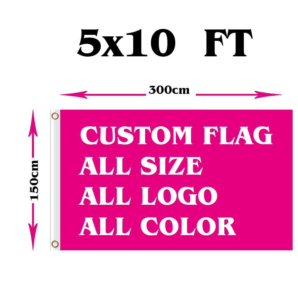 150X300cm Polyester we design any logo any color Custom gift flag banner