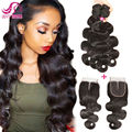 8A Indian Virgin Hair With Closure Unprocessed Body Wave With Closure Indian Body Wave Vip Beauty Human Hair With Closure