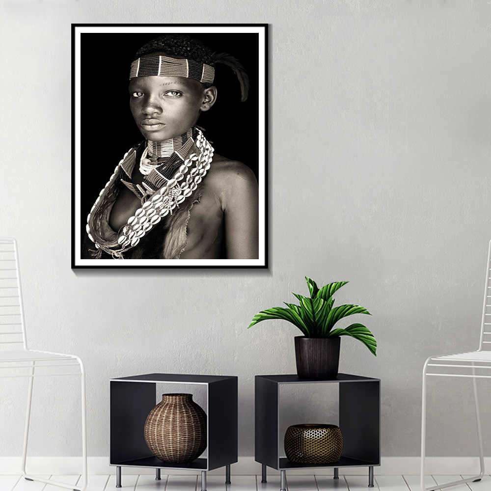 African Women Wall Art Portrait Home Decoration Black And White Posters And Prints Living Room Canvas Painting Wall Pictures