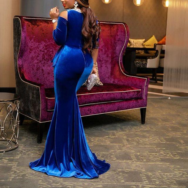Vintage Party Elegant Luxury Sexy Office Ladies Women Long Dresses Plus Size Blue Ruffle Bodycon Retro Female Evening Maxi Dress