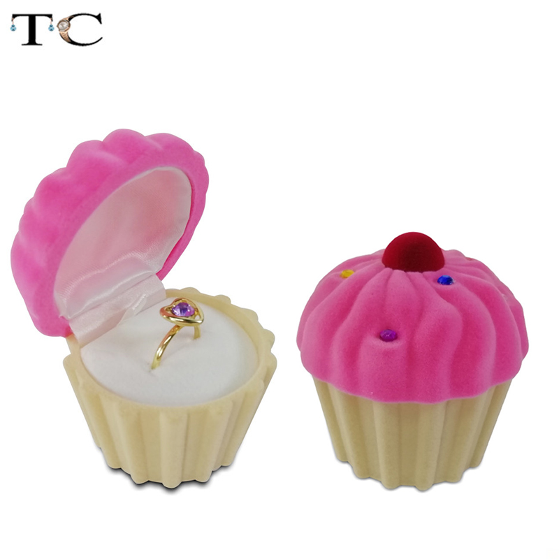 Cute Cake Cup Shape Velvet Ring Box Earring Packing Pendant Jewelry Box Storage Case Surprise Gift Case