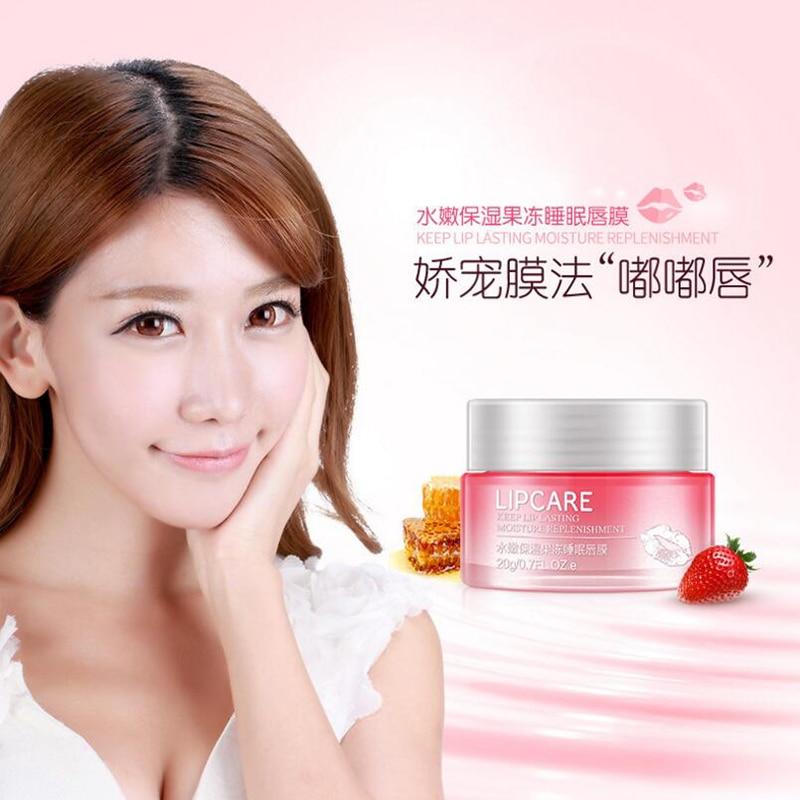 BIOAQUA Strawberry Lip Sleeping Mask Exfoliator Lips Balm Moisturizer Nourish Lip Plumper Enhancer Vitamin Skin Care Night Cream 2