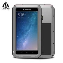En métal En Aluminium Couverture de Téléphone Xiaomi Mi Max 2 Cas Couverture Armure Antichoc Xiaomi Mi Max2 Cas Pour Xiaomi Mi Max 2 + Gorilla Glass