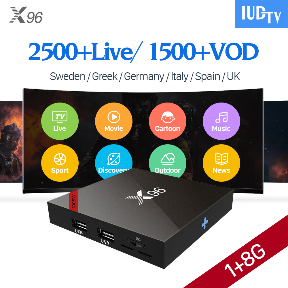 X96W IPTV Europe Box Android 7.1 IUDTV Subscription 1 Year IPTV Portugal Germany Italia UK Spain Greece Sweden IPTV iview i6s plus quad core android europe iptv box with 1 year iview hd package watch uk greece germany turkey italia channels