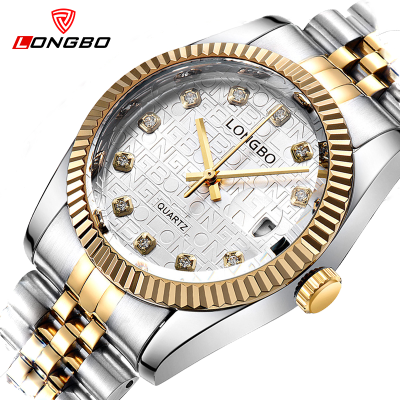 Top Brand Luxury Gold Quartz Watch Men Famous LONGBO Golden Stainless Steel Wrist Watch Male Clock Business Relogio Masculino new hot sale product longbo men watches luxury brand top grade gold stainless steel watch with quartz movement male clock 5061