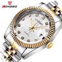 Top Brand Luxury Gold Quartz Watch Men Famous LONGBO Golden Stainless Steel Wrist Watch Male Clock