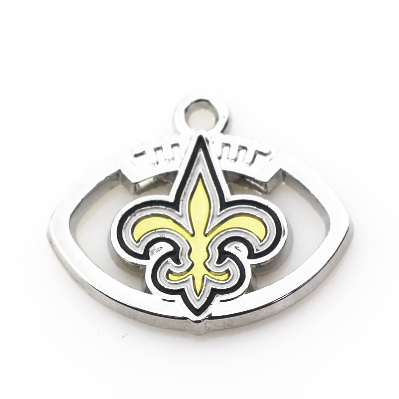 10pcs Football Team Dangle Charms Alloy Enamle New Orleans Saints Charms For DIY Sports Necklace Bracelet Earring Jewelry