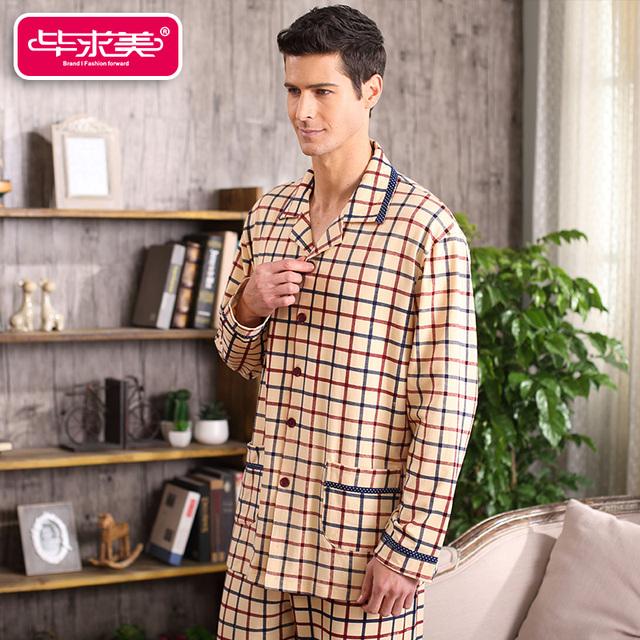 Primavera y Otoño Algodón de Los Hombres Conjuntos de Pijamas Pijamas Sleep Salón A Cuadros de Manga Completo Turn-Down Collar ropa de Dormir Pijamas Casual Homewear