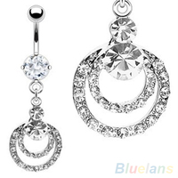 24 PCS 316L Surgical Steel Double Ring Dangle Navel Button Bar Belly Ring Piercing Body Jewelry