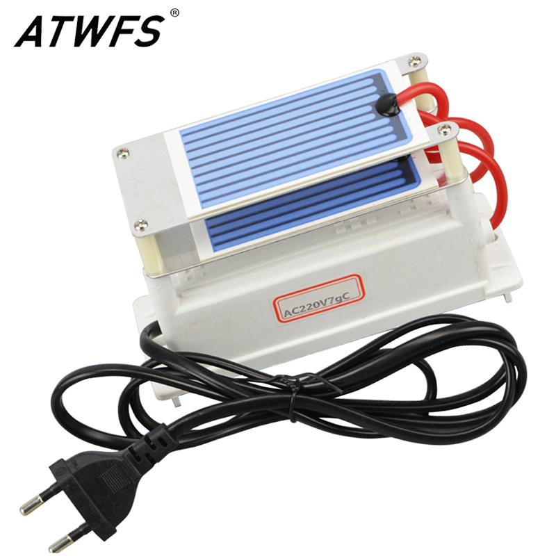 ATWFS High Quality Ozone Generator 220v 7g with EU Plug Ozon Generator Air Cleaner Ozone Ceramic Plate Sterilizer ceramic plate with ceramic base 5g h ozone generator for ozone generator accessory white 120mm x 50mm