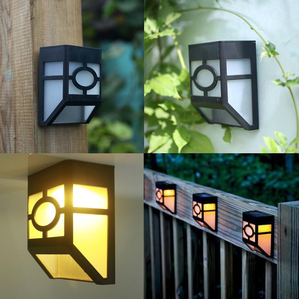Retro warm night light Wall Light Solar Powered Wall Mount LED Light Outdoor Garden Path Landscape Fence Yard Lamp P37