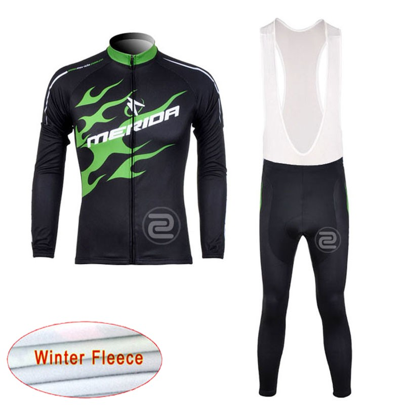 2018 MERIDA Winter Fleece Cycling Clothing Men Cycling Long Sleeve Jersey Maillot Ropa Ciclismo Bike (bib) Long Pants Set D1302 2018 cycling jersey long sleeve pro bike bib pants set ropa ciclismo mens cycle wear bicycle uniformes maillot sportwear