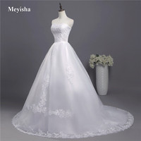 ZJ3001 Corset lace up 2018 strapless Crystal Sweetheart Lace White Wedding Dresses for brides plus size maxi formal train edge