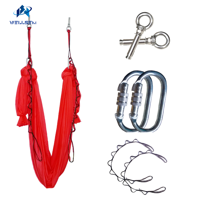 4meter Professional Yoga Aerial Hammock +carabiner +daisy chain +top mount,Swing Trapeze Anti-Gravity Inversion Traction touch цены