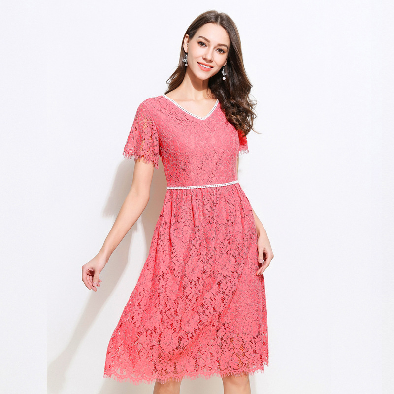Summer Ladies elegant lace ball gown dress short sleeve pink beautiful party dress V neck slim fit occassion casual vestidos5XL