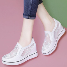 Crystal Slip On Wedges Shoes for Women White Sneakers Summer Shoes Woman High Heel Sneakers Platform Female Vulcanized Shoes-in Women's Vulcanize Shoes from Shoes on AliExpress