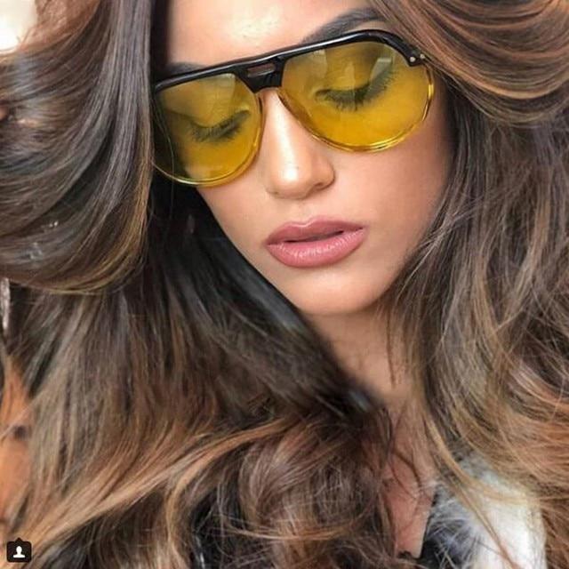 Sexy de luxo de Grandes Dimensões da marca Óculos De Sol Das Mulheres Do Vintage  2018 6f12562dbf