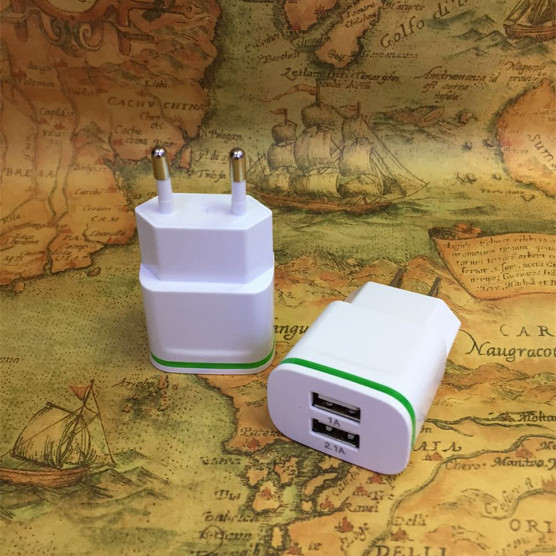 Universal Dual USB Charger 5V 2.1A EU US Plug USB Adapter Wall Charger For Mobile Phone iPad Tablet Samsung HTC LG Charging