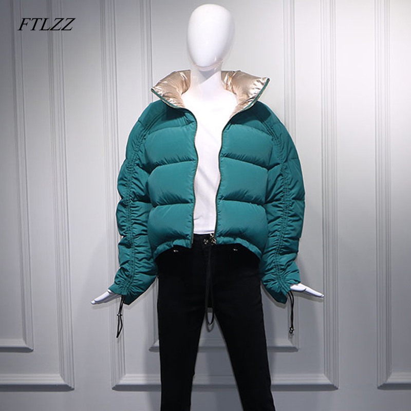 FTLZZ Winter Women Down Jacket Golden Green Short Coat Double Side Turtleneck Collar White Duck Down
