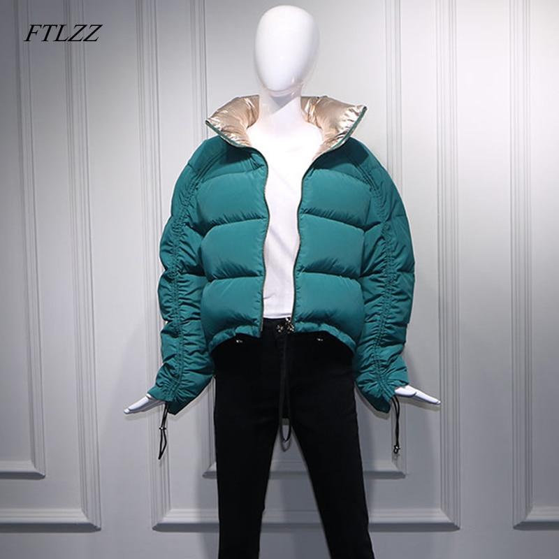 FTLZZ الشتاء المرأة أسفل سترة الذهبي الأخضر معطف قصير مزدوجة الجانب الياقة المدورة طوق أبيض بطة أسفل الثلوج أبلى ستر-في معاطف قصيرة من ملابس نسائية على  مجموعة 1