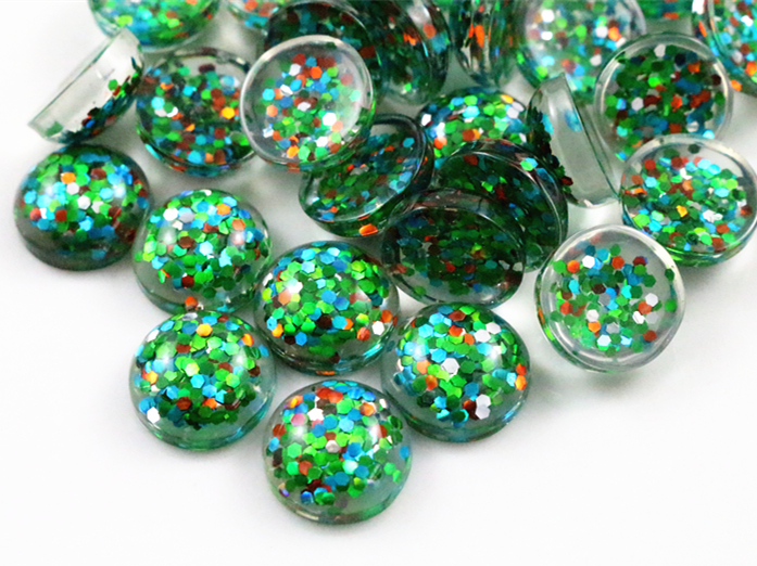 40pcs 12mm New Fashion Green And Blue And Orange And Silver Mix Color Flat Back Resin Cabochons Cameo  G3-34
