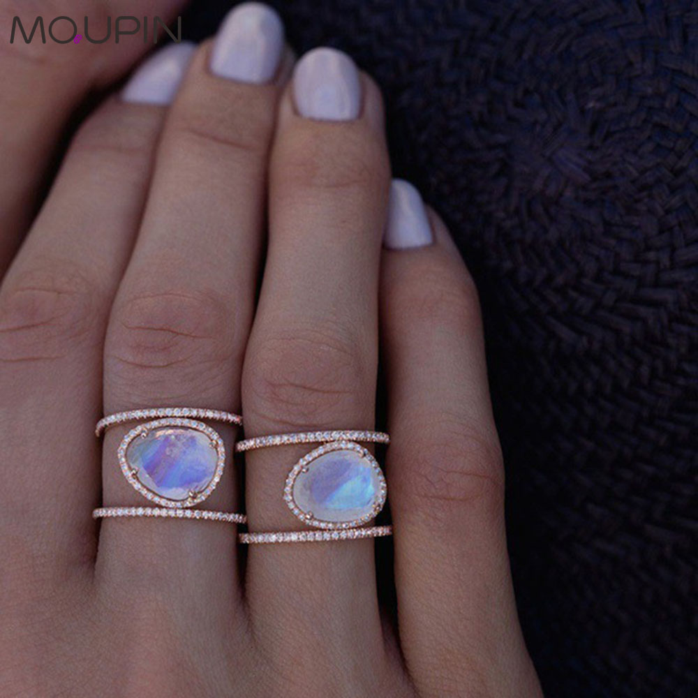 MQUPIN Irregular Natural Moonstone Ring Plated  Rose Gold Micro-set Finger Ring