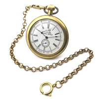 Antique Style Copper Open Face Roman Number White Dial Mens Mechanical Pocket Watch w/Chain Nice Gift