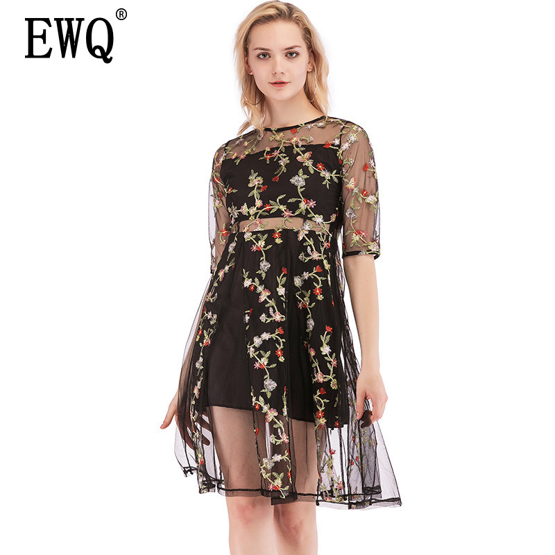 ewq 2019 Spring And Summer New Mesh Embroidery High Waist Round Neck Half Sleeve Fashion Trend Womens Knee-length Dress Qf647 Devoted